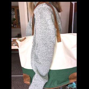 Handbags - cream and green canvas tote